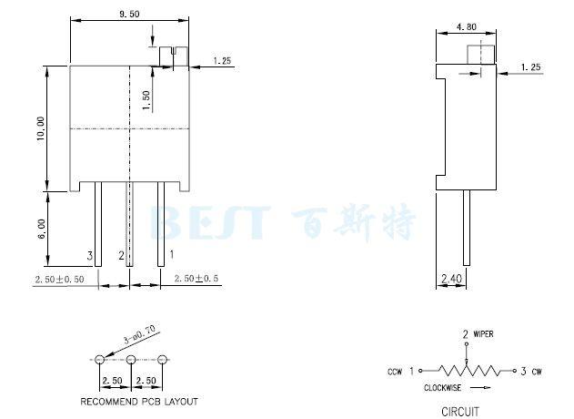 3296W精密电位器引脚图