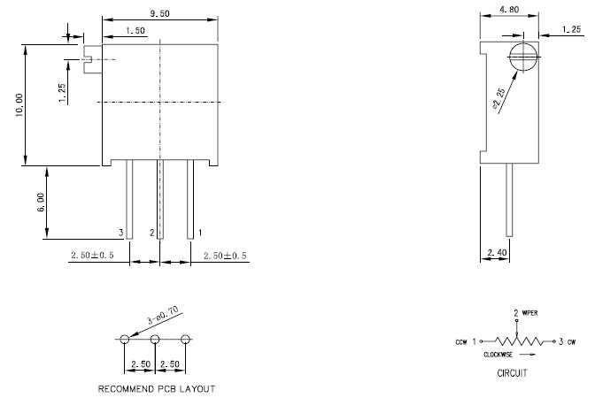 3296X精密电位器引脚图