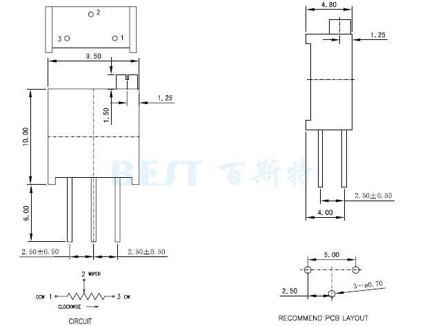 3296Y精密电位器引脚图