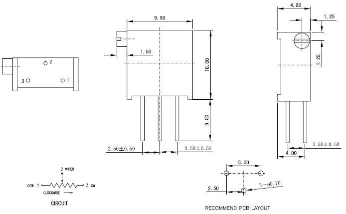 296Z精密电位器引脚图