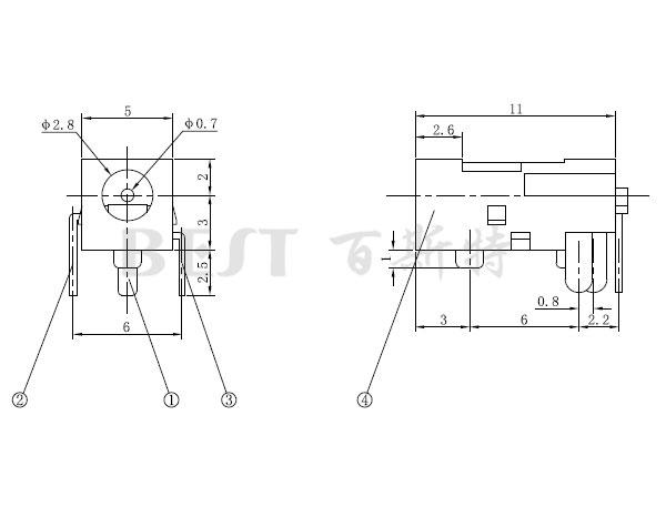 dc011电源插座参考图纸