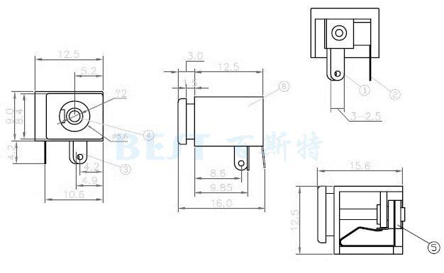 dc009电源插座参考图纸