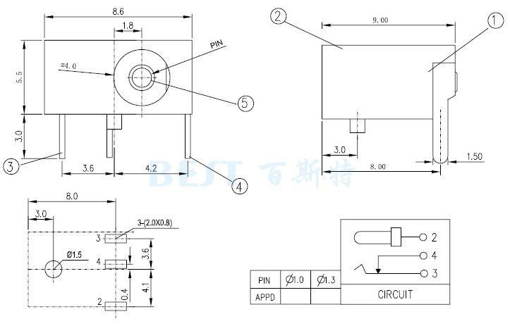 dc006插座参考图纸