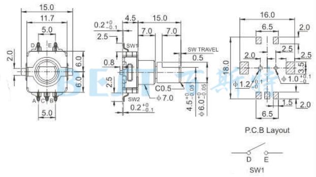 技术参数: 使用温度范围:-30 to+80 保存温度范围: -40 to+85 额定电压::DC 5V 全回转角度:360度(无止档点) 回转寿命:10000+200 Cycles 接触电阻:100m 绝缘阻抗:100M 以上 振荡:10mS 按压 编码器EC11I0参考图纸