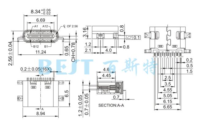 USB插座USB-C-08 16PIN沉板_参考图纸