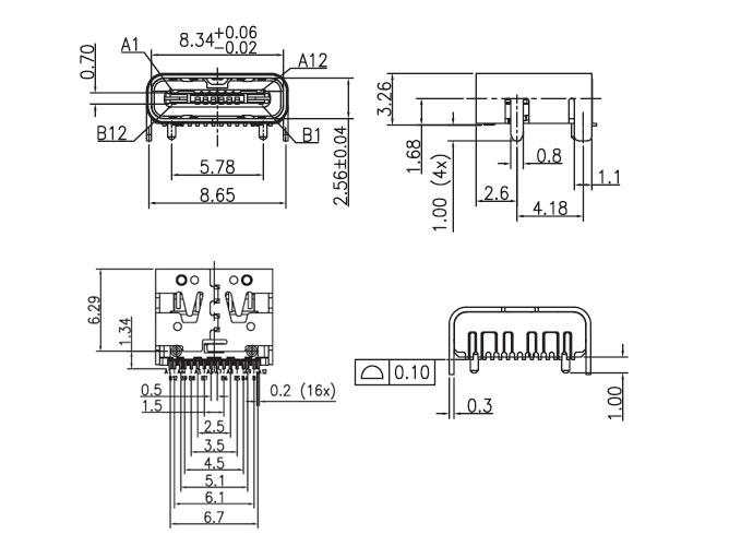 USB插座USB-C-04_参考图纸