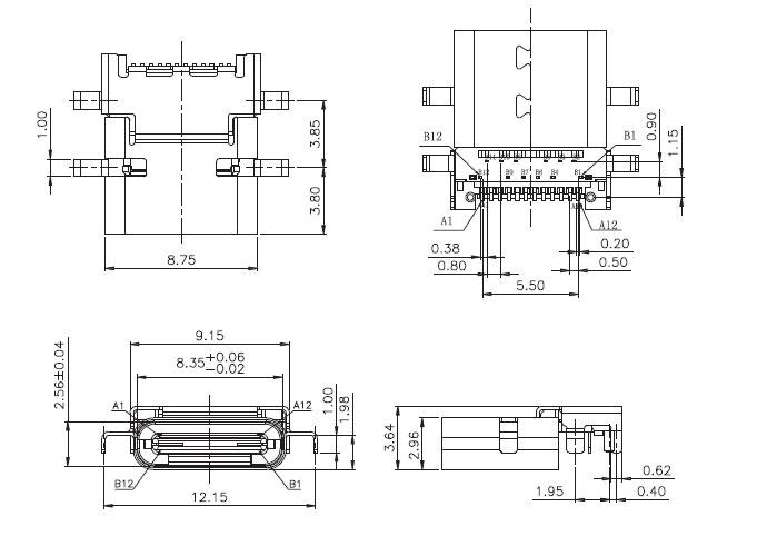 USB插座USB-C-03_参考图纸