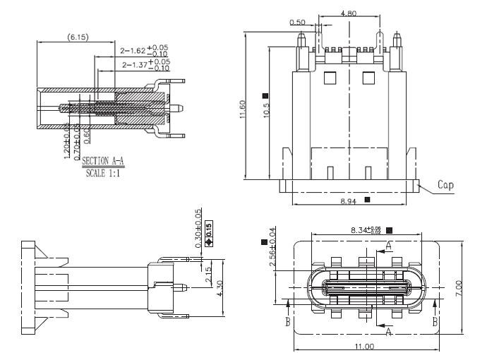 USB插座USB-C-02_参考图纸